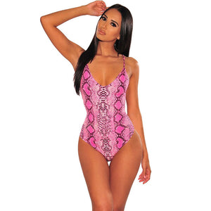 Snake Print Sleeveless Bodysuit - Rave Alien