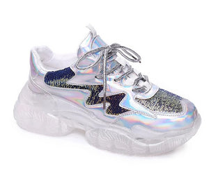 Platform Sequined Chunky Sneakers Multicolor  Shoes - Rave Alien