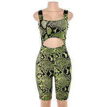 Load image into Gallery viewer, Playsuit Short Gothic Snakeskin Print  Bodysuit - Rave Alien