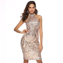 Load image into Gallery viewer, Sparkling Sequin  Slim Geometry Sleeveless Mini Bodycon Dress