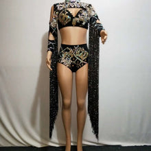Load image into Gallery viewer, Shiny Black Long Tassel Costume Sparkly Rhinestone - Rave Alien