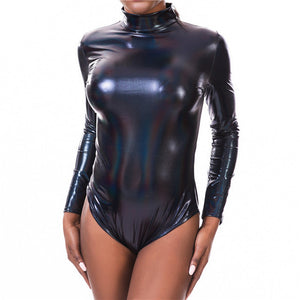 Shiny Holographic Women Bodysuit With Long Sleeve - Rave Alien