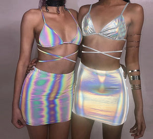 Silver Holographic Sexy Hot 2 Piece Skirt - Rave Alien