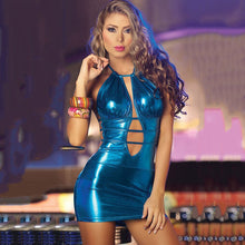 Load image into Gallery viewer, Sparkle Metallic Color Wet Look Pu Dresses Bandage Backless Sleeveless Sexy Ladies Bodycon Night Party Club Mini Dress 2019