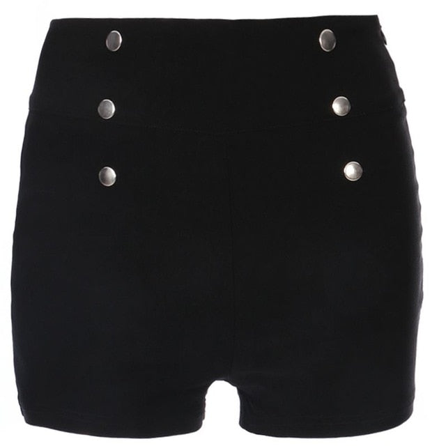 Summer Fashion Sexy Women Slim High Waist Shorts Hot Shorts Casual Solid Skinny Side Zipper Button Tumblr Hipster Shorts - Rave Alien