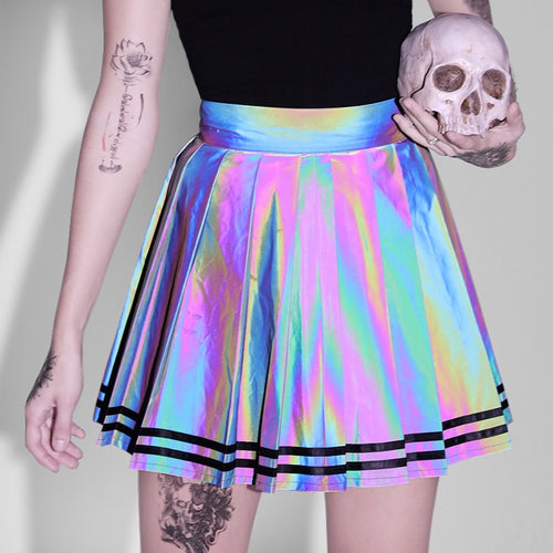 Summer Reflective Pleated Mini Skirts Women High Waist Harajuku Skirts Party Club Black Reflective Fashion Street Female Skirts - Rave Alien