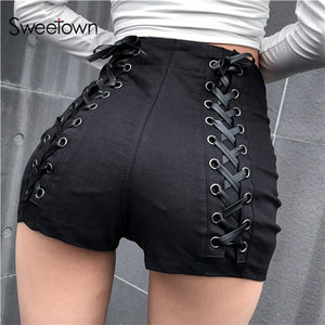 Sweetown Black Slim Gothic High Waist Shorts Women Hot Summer 2019 Streetwear Casual Punk Style Hip Criss-Cross Bandage Shorts - Rave Alien