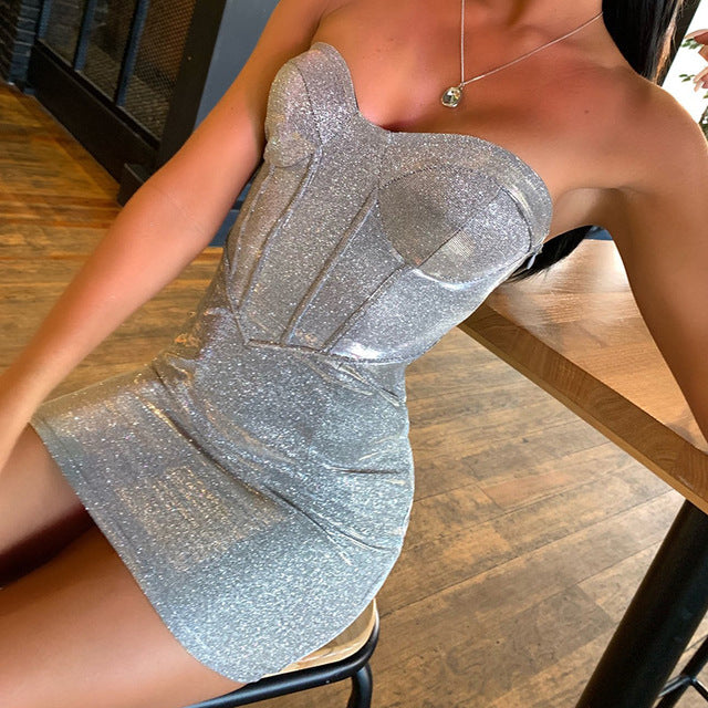 Strapless Off Shoulder Sparkle Bodycon Dress