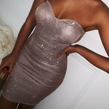 Load image into Gallery viewer, Strapless Off Shoulder Sparkle Bodycon Dress