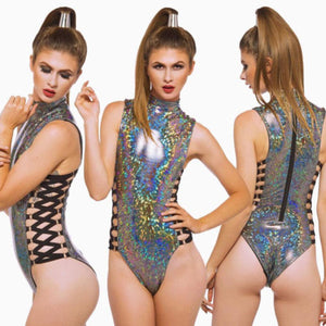 High Stretch Holographic  Bodysuit - Rave Alien