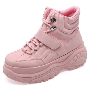 Women Sneakers 2019 Platform Pink Chunky Heel Wedges Dad Shoes White Height Increasing Women Shoes Sports Shoes Chaussure Femme
