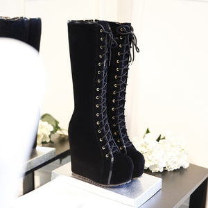 High Wedge Boots - Rave Alien
