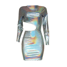Load image into Gallery viewer, Bling Holographic Laser Hollow Out Mini Dress