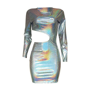 Bling Holographic Laser Hollow Out Mini Dress
