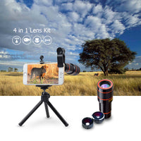Universal Clip Mobile Camera Cover 12X Telescope 198 fisheye 0.63X Wide Angle Macro 4in1 Lens Kit With Tripod