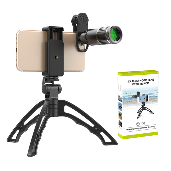 Optical Clip Metal HD 16x telescope Zoom Phone Camera Lens With Handheld tripod for All Mobile
