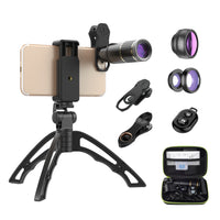 Universal Optical Clip Fisheye Wide Angle Macro Filter 16x Telephoto 6in1 Lens Kit With Handheld Tripod