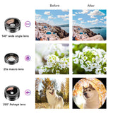 APEXEL Filter Phone Camera Lens Clip Optical On-line Travel 11 in 1 Cell Phone Lens Kit for iPhone and Android