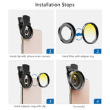 New trending items 0.45X Super Wide Angle Macro Lens 37/52mm CPL ND32 Grad Color Filter Lens Kit For Mobile Phone