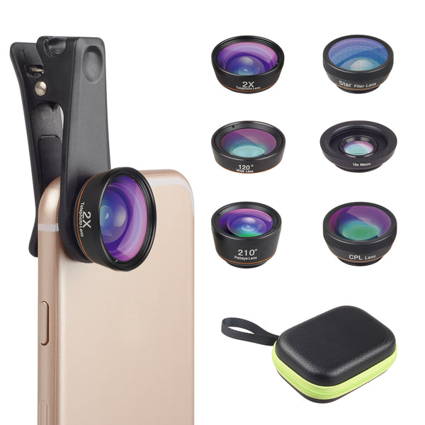 Apexel optional telephoto wide angle star filter fisheye CPL filter mart phone lens 6 in 1 camera lens kit