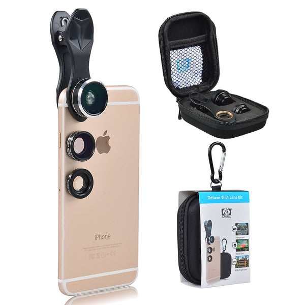 Universal Clip Fisheye Wide Angle Macro Phone Camera 3in1 Lens kit