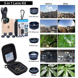 best selling clip-on mobile phone accessories external camera fisheye telescope 5in1 lens kit