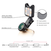HD Clip-on 0.6X Wide Angle Macro Selfie Flash Ring Led 2in1 Lens Kit