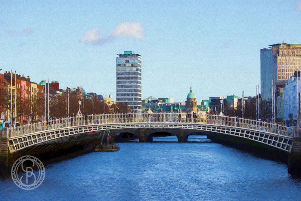 Ha'penny Bridge with Liberty Hall