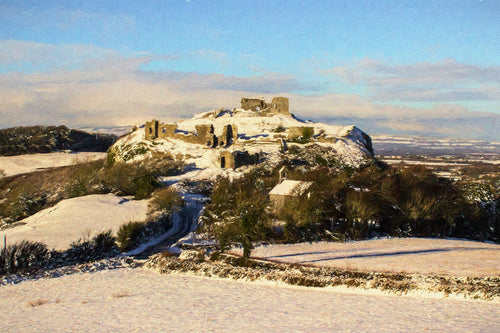Rock of Dunamaise, Snow, from a distance
