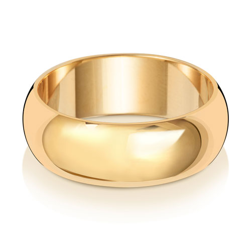 D-Shape 7MM 18ct Yellow Gold Wedding Band