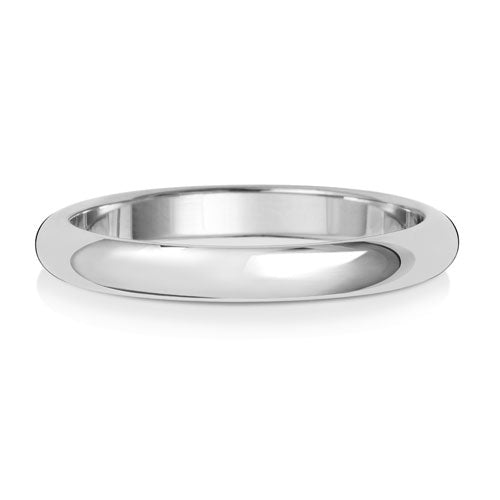 D-Shape 2.5MM Wedding Band in White Gold or Platinum