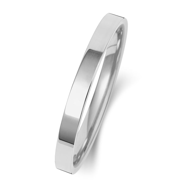 Flat Court 2MM Heavy Weight 9ct White Gold