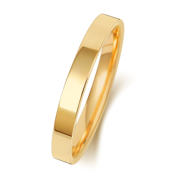 Flat Court 2.5MM Medium Weight 18ct Yellow Gold