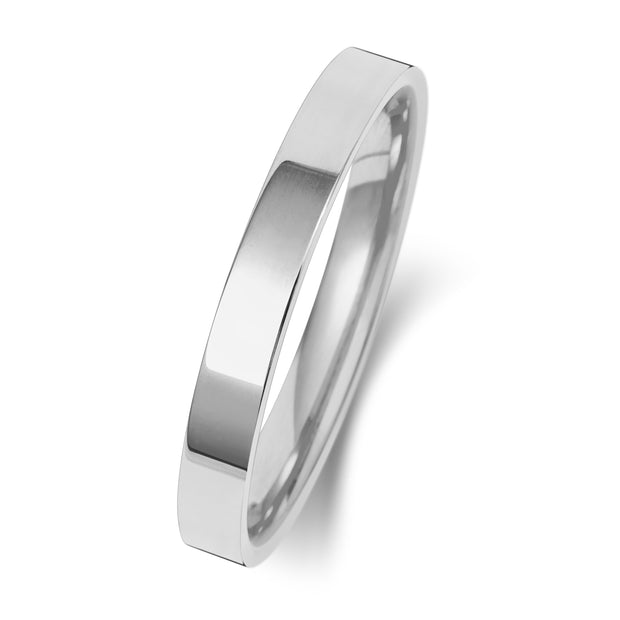 Flat Court 2.5MM Heavy Weight 9ct White Gold