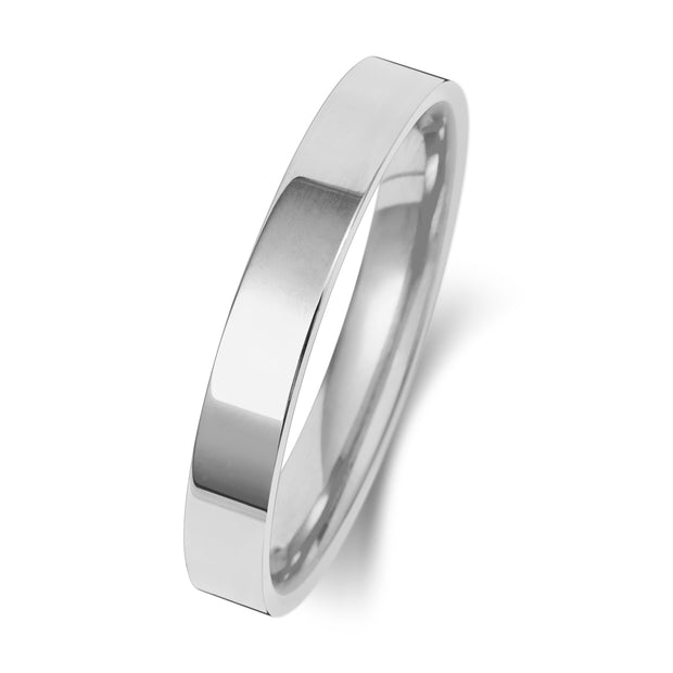 Flat Court 3MM Heavy Weight 9ct White Gold