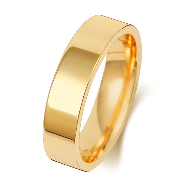 Flat Court 5MM Heavy Weight 18ct Yellow Gold