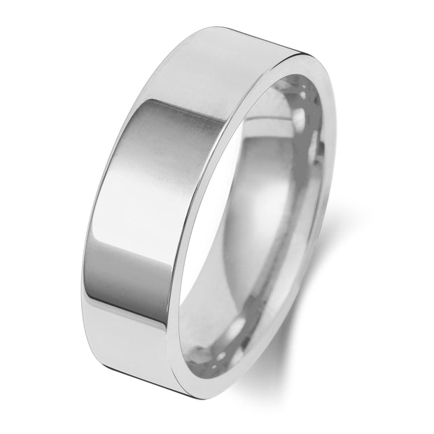 Flat Court 6MM Heavy Weight 9ct White Gold