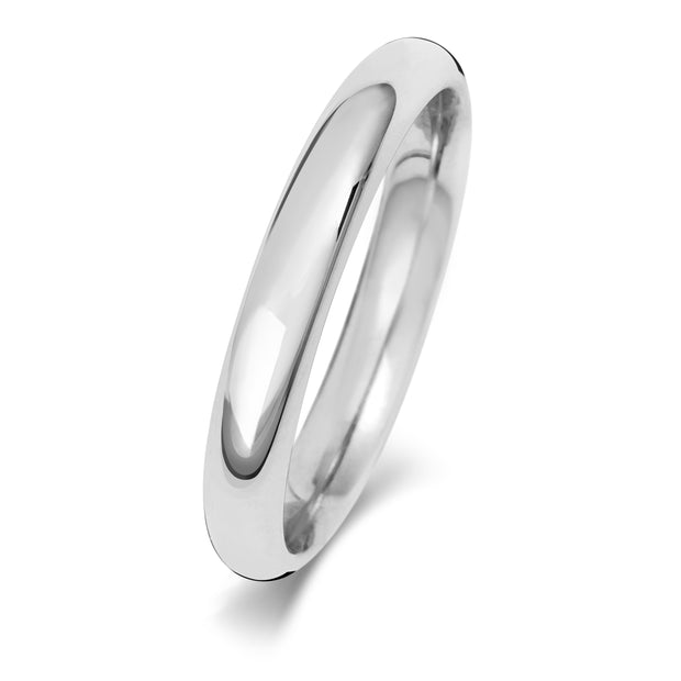 Traditional Court 3MM Heavy Weight 9ct White Gold