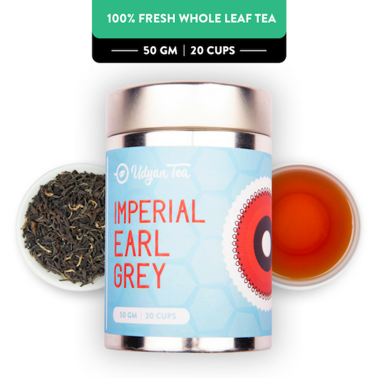 Imperial Earl Grey Black Tea - Champagne Gold Gift Caddy, 50 gm | 20 cups