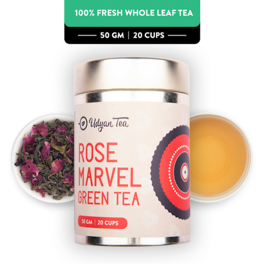Rose Marvel Green Tea - Champagne Gold Gift Caddy, 50 gm | 20 cups