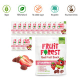 Fruit Forest Real Fruit Gummy Party Pack of 14 | 100% Naturally Sweet Snack | No Added Sugar | for Kids & Adults | Vegan | Strawberry (14 X 30 GMS )