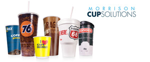 "Various foam, paper and plastic cups with colorful designs. It says ""Morrison Cup Solutions""."