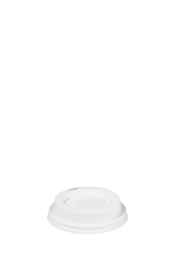 A white, gourmet, 80mm, sip lid that fits 8 ounce hot, trophy cups.