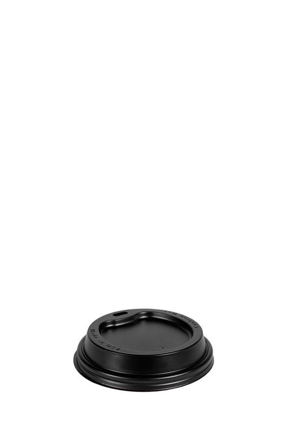 A black, dome, 90mm, sip lid that fits 12 to 24 ounce hot, paper cups.