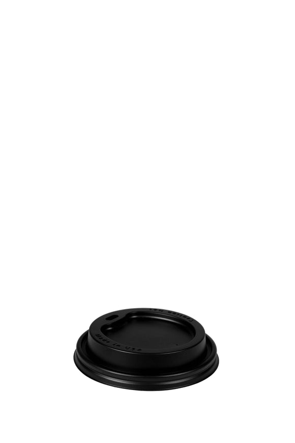 A black, dome, 93mm, sip lid that fits 12 to 24 ounce hot, paper cups.