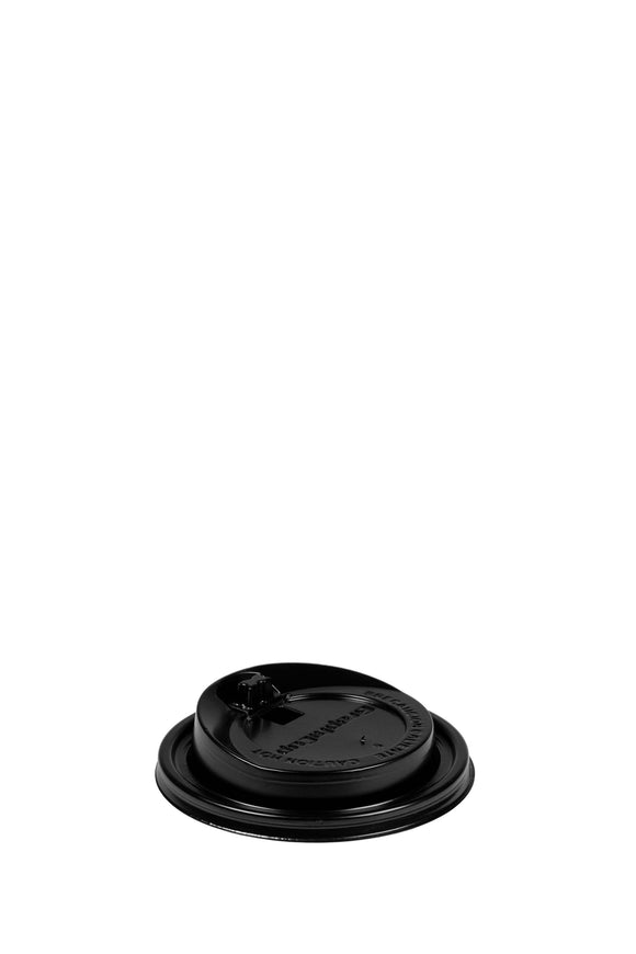 A black, gourmet, 97mm lid that fits 12 to 24 ounce hot, paper, Graphi cups.