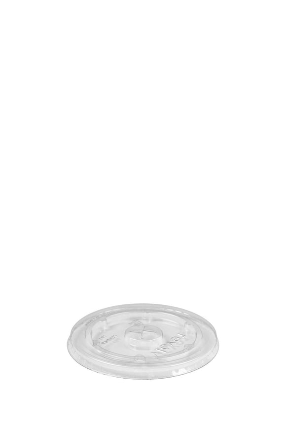 A 98mm, clear, flat, lid that fits 12-24oz cups.