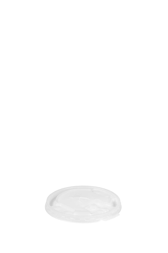 A translucent, flat, 86mm lid that fits 12 ounce to 24 ounce hot, thin-wall foam cups.