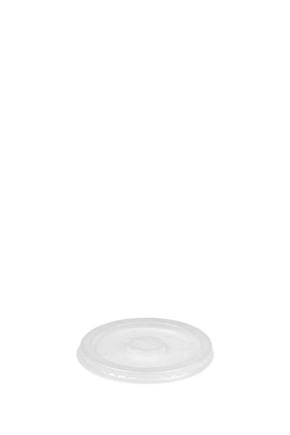 A translucent, flat, 90mm lid that fits 22 ounce cold, paper cups.