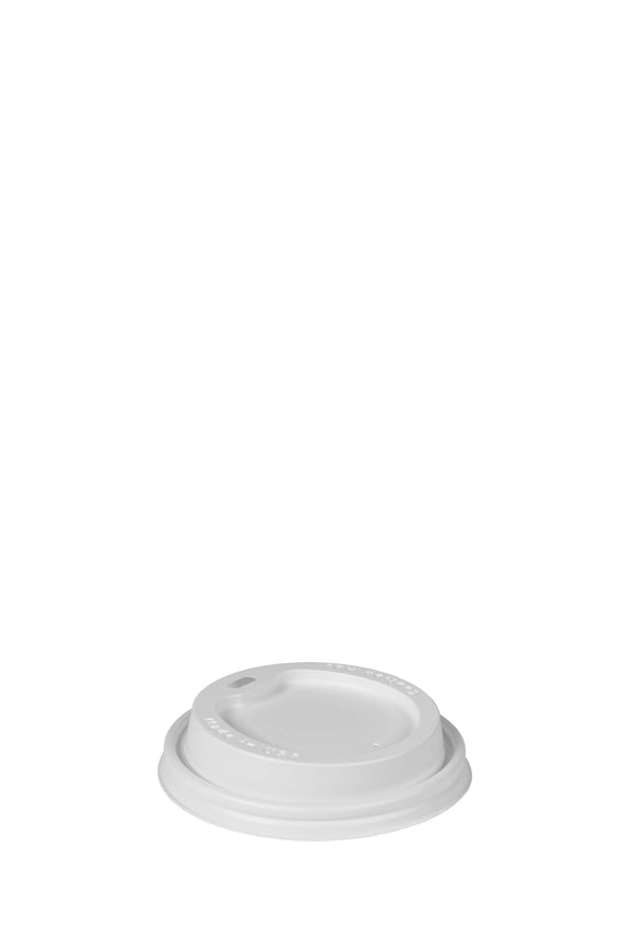A white, gourmet, 93mm, sip lid that fits 12 to 24 ounce hot, foam cups.